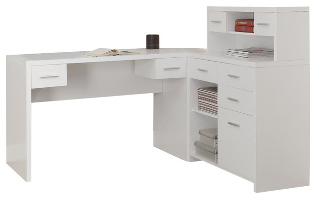 Beau Monarch Specialties 7028 Hollow Core L Shaped Home Office Desk In White