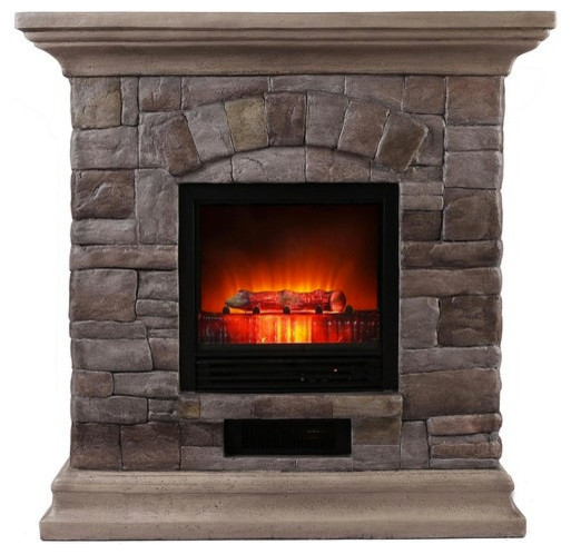 Faux Stone Portable Fireplace Rustic Indoor Fireplaces