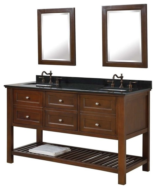 Mission Spa 60 Double Vanity Black Granite Top Transitional Bathro
