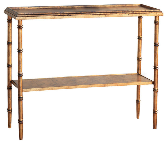 Amazing Doheny Hollywood Regency Style Gold Faux Bamboo Console Transitional Console  Tables