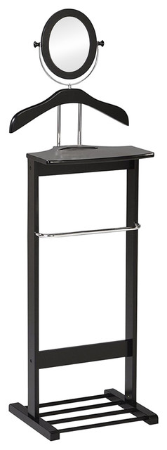 Black Wood & Chrome Metal Valet Stand Organizer Rack With Mirror.