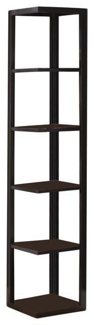 Damian 5-Tier Corner Bookcase, Espresso.