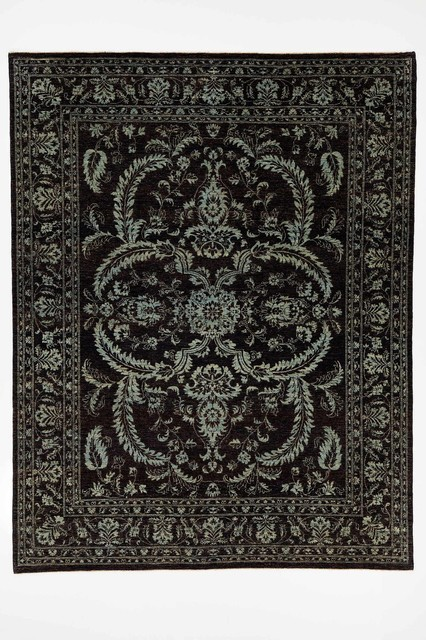 traditional chobi ziegler oriental rug with borders black and blue 8x103