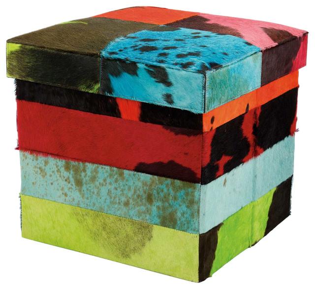 Natural Leather Hide Stripe Cube, Multicolor.