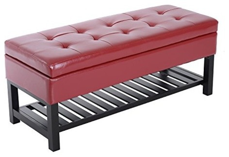 44 PU Leather Tufted Shoe Rack Ottoman Storage Bench, Red