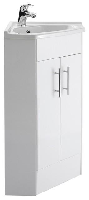 Mayford Gloss White Corner Bathroom Vanity Unit, 35 cm