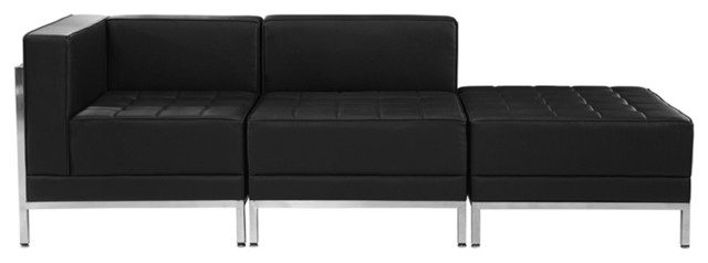 Hercules Imagination Series Black Leather 3 Piece Chair And Ottoman Set.