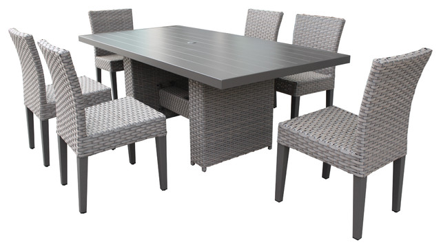 Monterey Rectangular Patio Dining Table 6 Armless Chairs Grey Stone