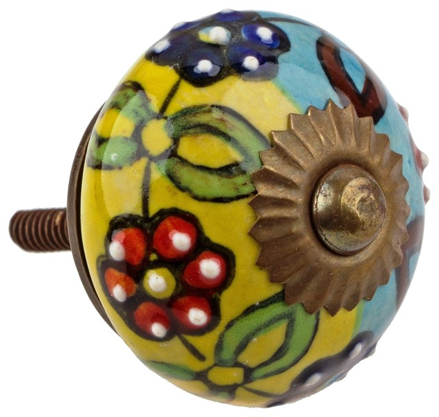 GlideRite Hand Painted Round Ceramic India Cabinet Knob - Asian - Cabinet And Drawer Knobs - by ...