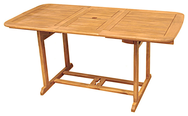 We Furniture Acacia Wood Patio Butterfly Table, Brown.