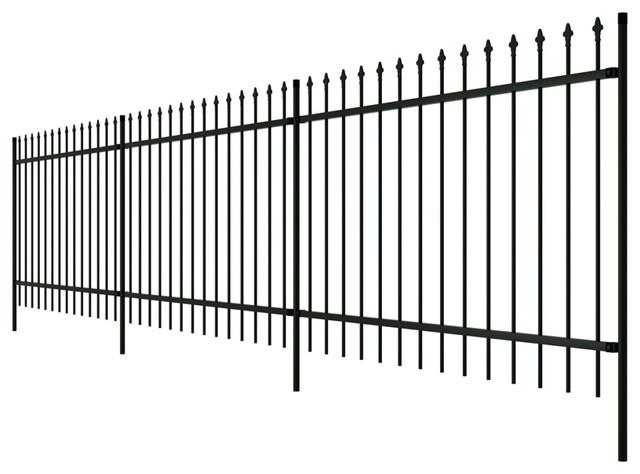 VidaXL Ornamental Security Palisade Fence, Steel Black, Pointed Top, 150 cm