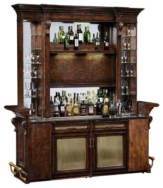Home Wine Bar: Linenfold Dark Oak Home Bar