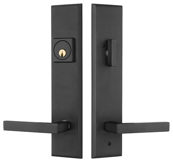Times square entry door lock handleset with delta lever contemporary door entry sets by for Exterior door handle and lock set