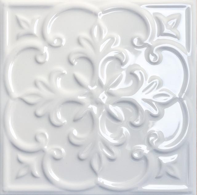 White Victorian Style Patchwork (6 design) Tile 20 x 20 cm, 1 m²
