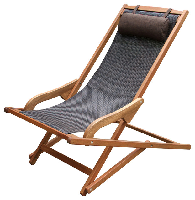 Byron Sling And Eucalyptus Lounge Chair With Brown Pillow.