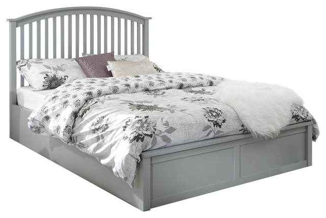 Madrid Wooden Ottoman Bed, Grey, Double