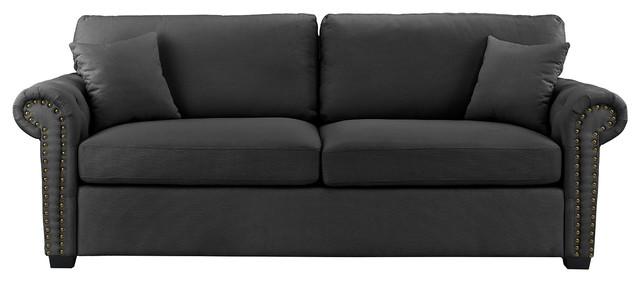 Classic Scroll Arm Linen Sofa With Nailhead Trim, Dark Gray.