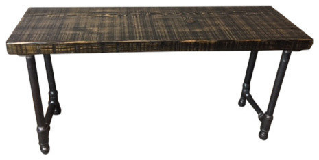 Industrial Reclaimed Wood Bench Industrial Gas Pipe, 12x48x18, Scorched