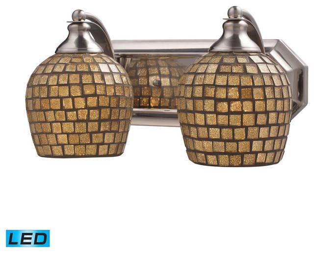 Satin Nickel Ceiling Lights Bathroom Vanity Chandelier: 2 Light Vanity, Satin Nickel And Gold Mosaic Glass