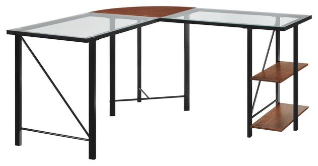 Shilow Glass Top L Desk, Cherry.