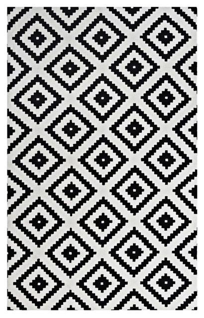Alika Abstract Diamond Trellis Area Rug, Black/white, 8&x27;x10&x27;.
