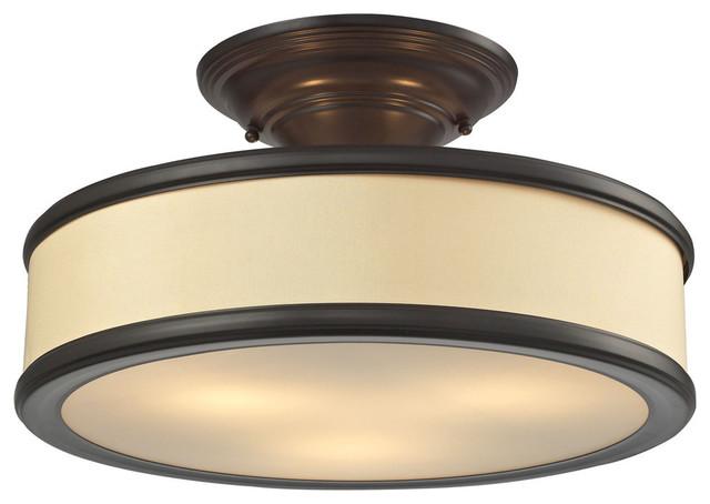 Clarkton 3-Light Semi Flush, Oil Rubbed Bronze.