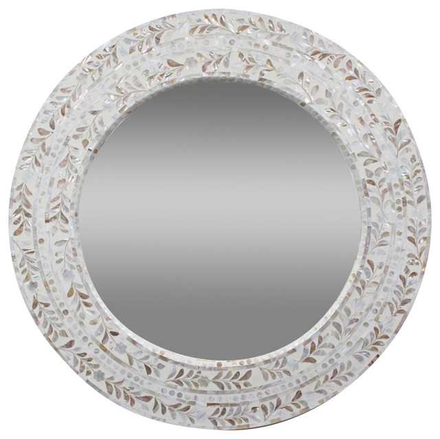 Mother of Pearl Round Mirror - Mediterranean - Wall Mirrors - by ...