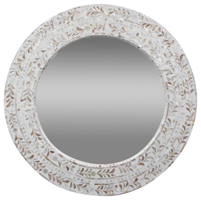 Mother of pearl bathroom mirror