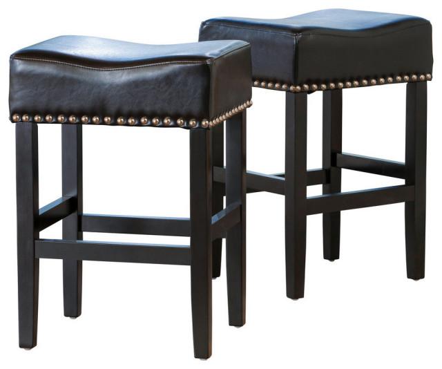 GDF Studio Chantal Leather Stools, Black, Counter Height, Set of 2