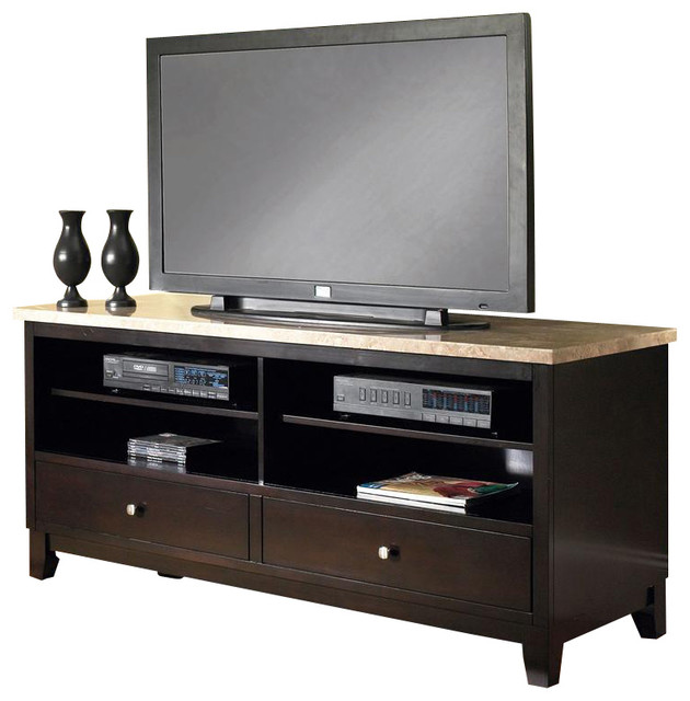Marble Top TV Cabinet in Black Finish - Entertainment Centers And Tv ...