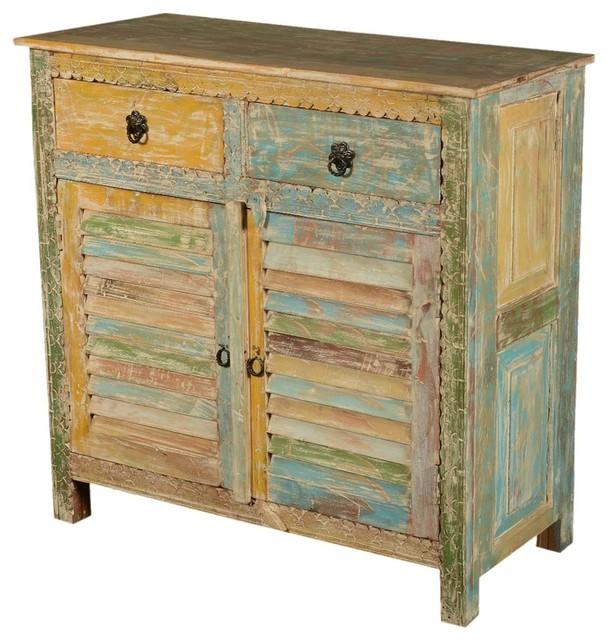 Rainbow Shutter Door Reclaimed Wood Kitchen Storage Cabinet
