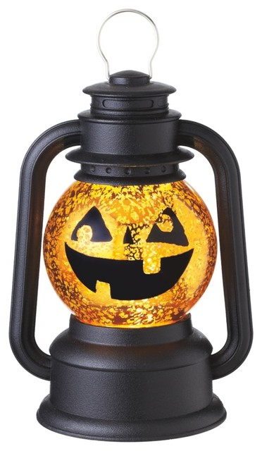 Lighted Shimmer Halloween Pumpkin Jack O Lantern 9.5 Tabletop Midwest Cbk.