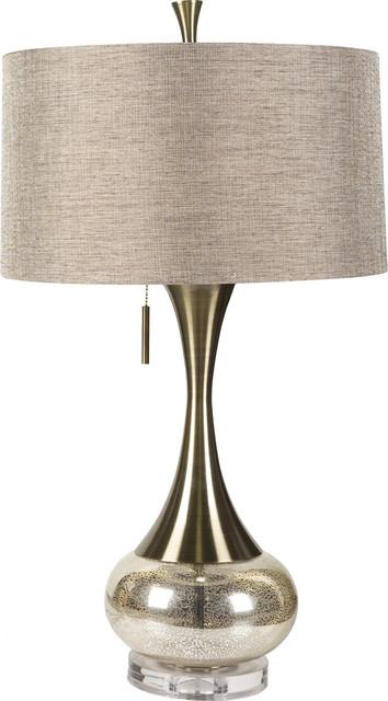 Lamp, Aged Brass/mercury Glass.