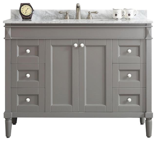 "Catania 48"" Single Vanity In Gray With Carrara White"