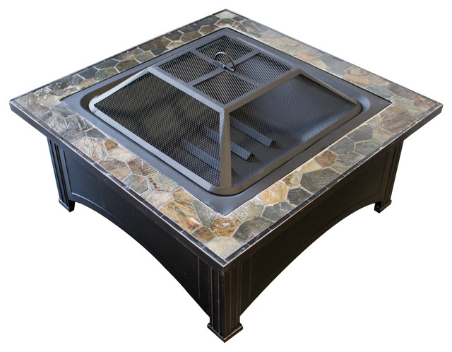 Wood Burning Fire Pit With Square Slate Table Contemporary Fire