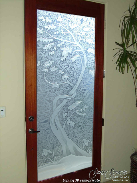 Glass Front Doors - Glass Entry Doors Sandblast Frosted - Sapling 3D