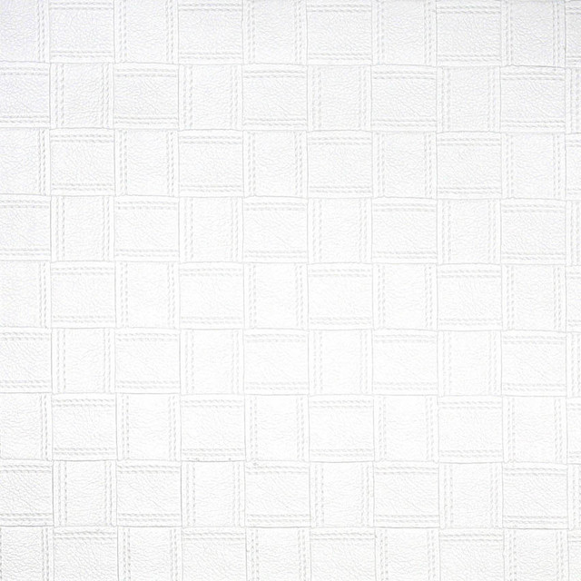 Superb White Basket Woven Upholstery Faux Leather By The Yard  Contemporary Upholstery Fabric