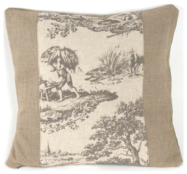 french country burlap gray toile toss pillow 19x19. Black Bedroom Furniture Sets. Home Design Ideas