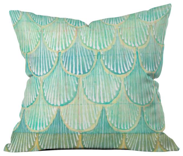 Deny Designs Ingrid Padilla Turquoise Area Rug Reviews: Cori Dantini Turquoise Scallops Outdoor Throw Pillow