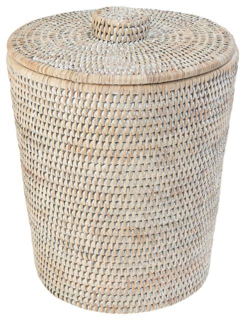La Jolla Rattan Round Waste Basket With Plastic Insert Lid White Wash
