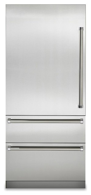 Viking 36 Built In Bottom Freezer Refrigerator, Stainless Steel.