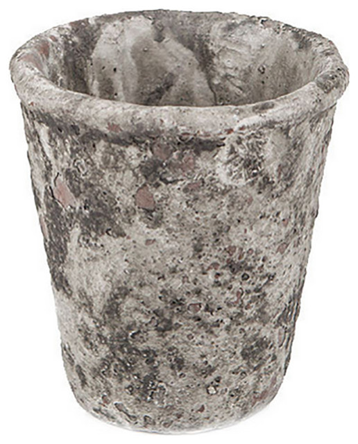 Concrete Cone Pot With Distressed Finish Rustic