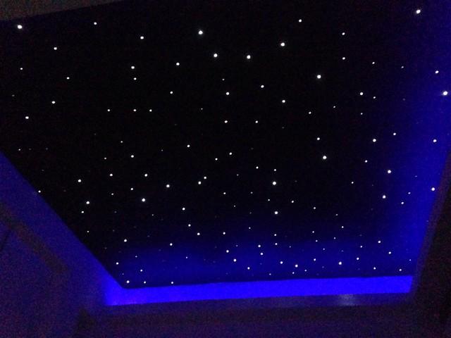 Fibre Optic Starlight Ceiling In Small Movie Room Modern