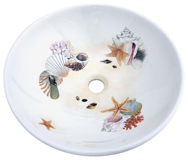 Seashells Hand Painted Sink Beach Style Bathroom Sinks