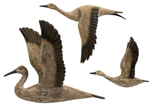 Reeds Migration Flying Bird Wall Art Set 3 Pine Wood