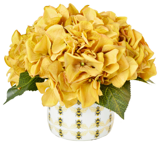 Gold hydrangeas in bee pot contemporary artificial for Artificial bees for decoration