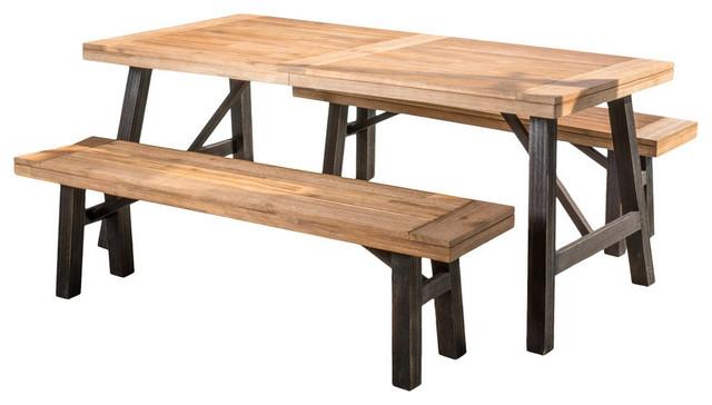 3 Piece Valverde Outdoor Wood Picnic Dining Set Industrial