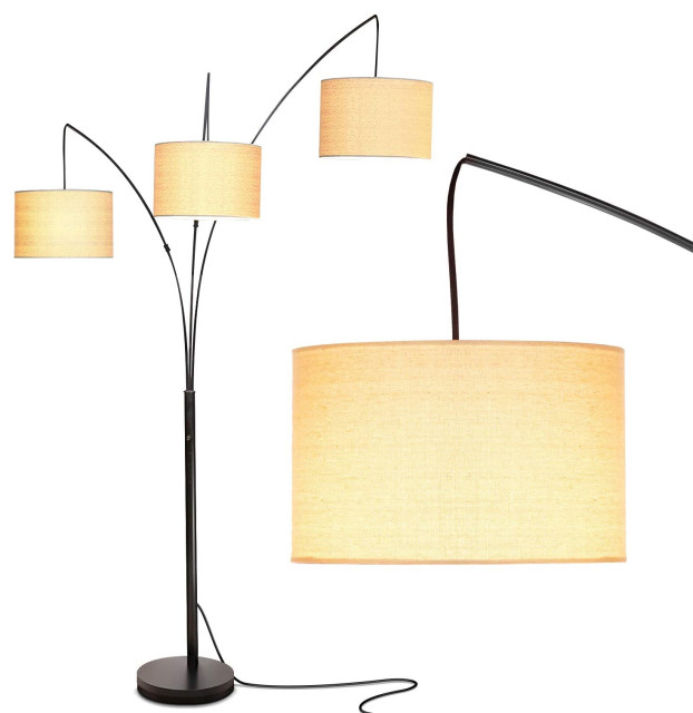 Brightech Trilage Arc Floor Lamp w/Marble Base - 3 Lights ...