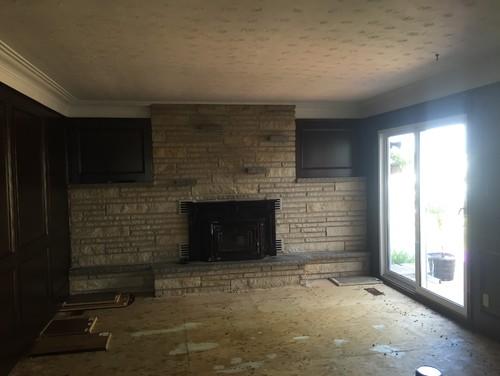 Dark Wood Veneer Walls Grey Beige Brick Fireplace