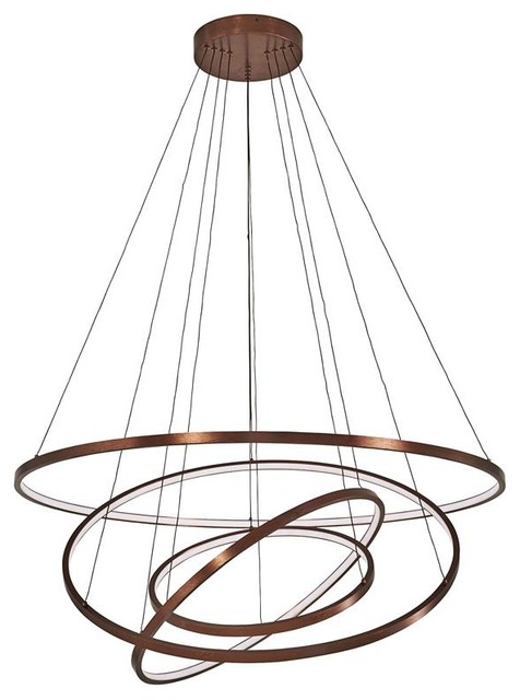Akari Modern Circular LED Chandelier, Dimmable With Remote, 3 Rings
